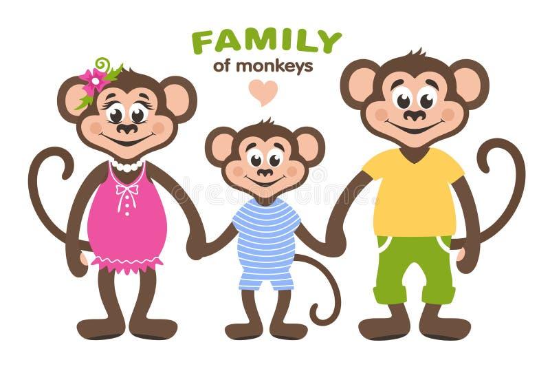 三口之家猴子-妈妈、爸爸和儿子 向量例证