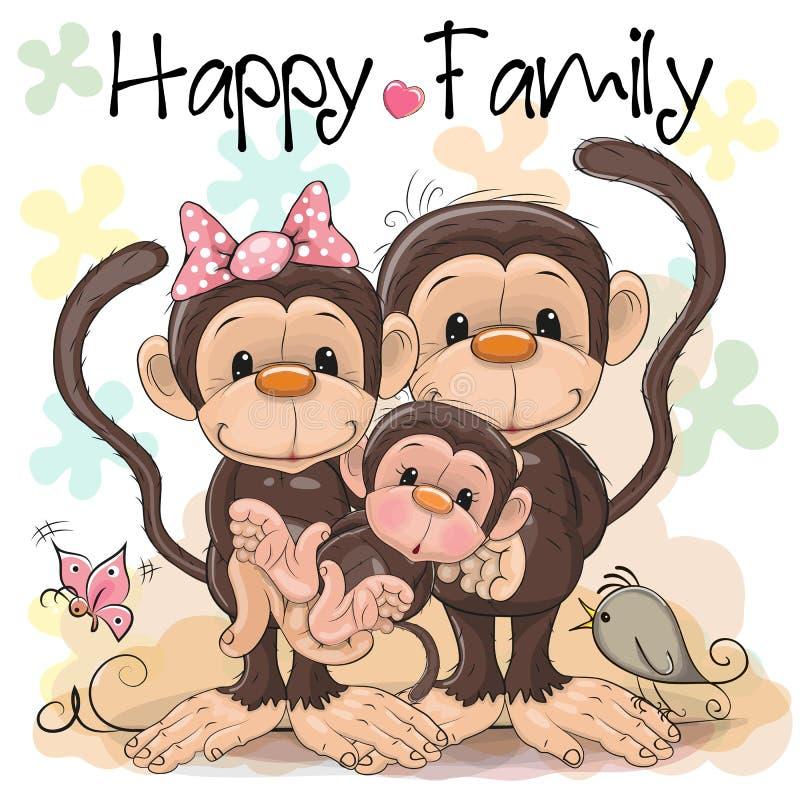 三口之家逗人喜爱的猴子 向量例证