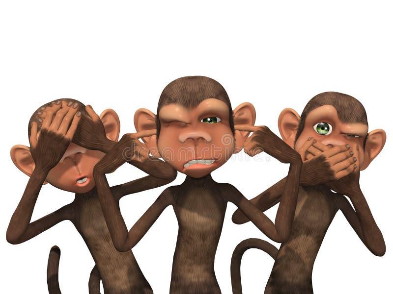 三只明智的猴子 库存例证