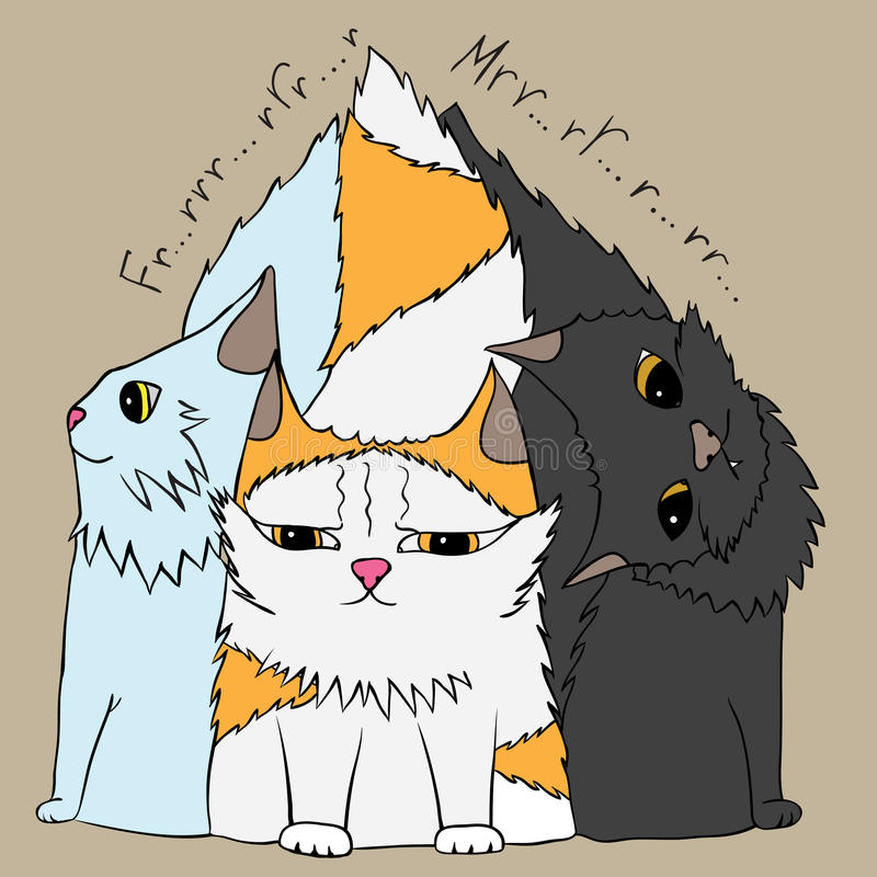三只逗人喜爱的猫 库存例证