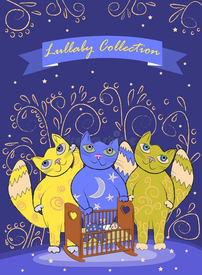 三只逗人喜爱的神仙的猫变安静孩子 边界或盖子设计 库存例证