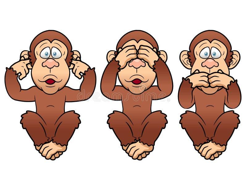 三只猴子 向量例证