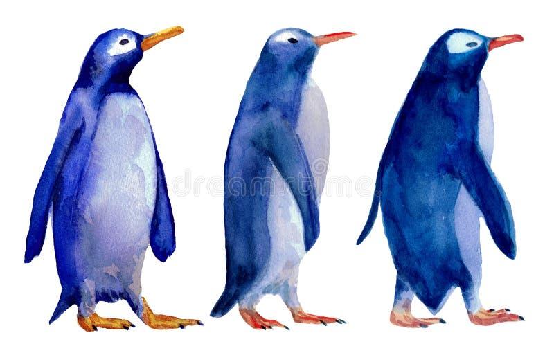 三只wolking的蓝色企鹅的水彩例证 皇族释放例证