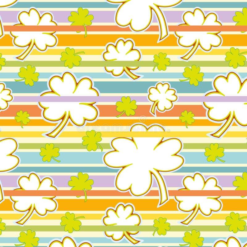 三叶草和彩虹无缝的样式 皇族释放例证