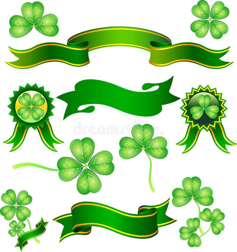 三叶草绿色丝带 向量例证