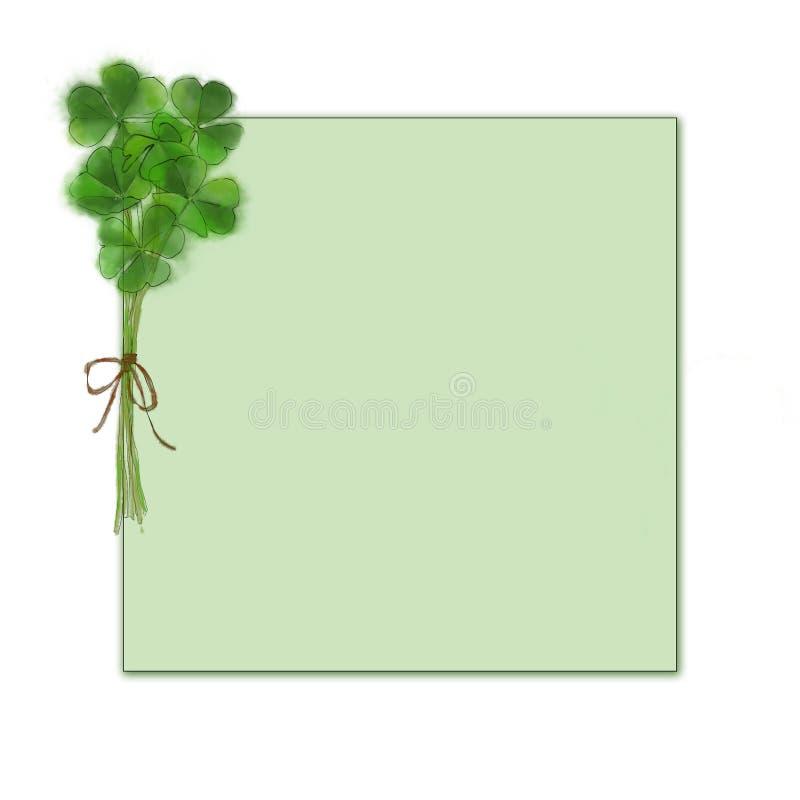三叶草花束模板 圣帕特里克` s模板的天设计 绿色爱尔兰好运灵符 水彩St `帕特里克` s天设计 库存例证