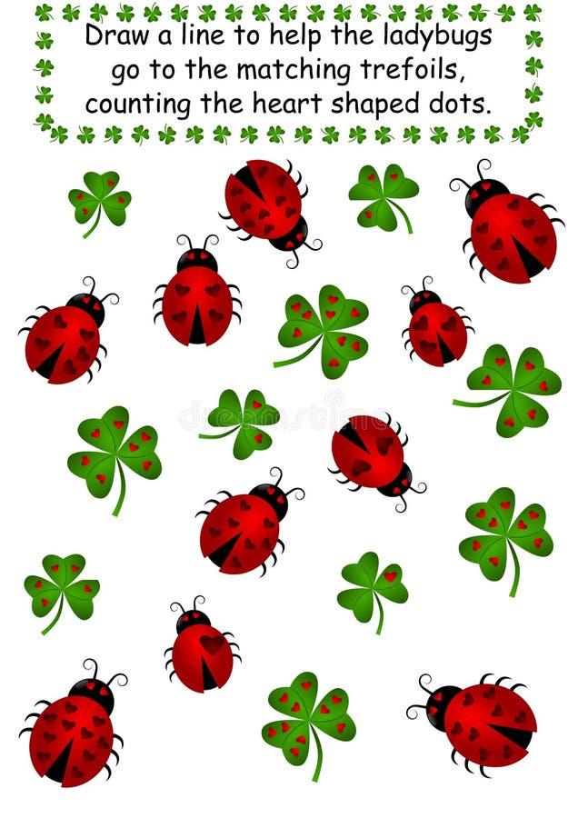 三叶草计数加点瓢虫 向量例证