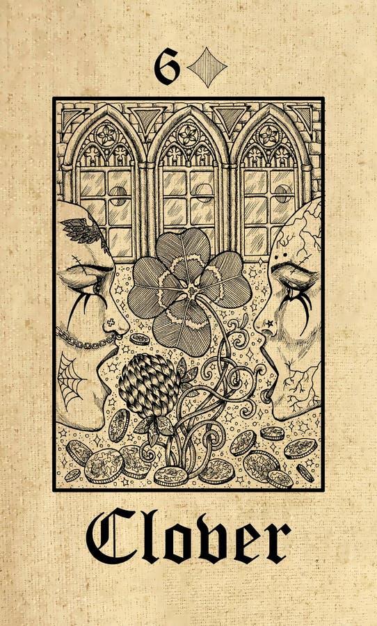 三叶草 从Lenormand哥特式奥秘oracle甲板的占卜用的纸牌 皇族释放例证
