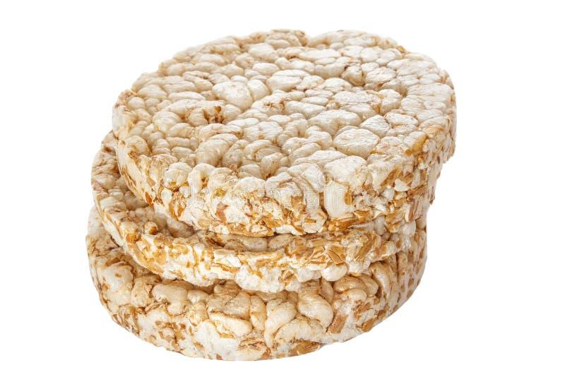 三喘气了在白色背景隔绝的堆的麦子蛋糕 免版税图库摄影