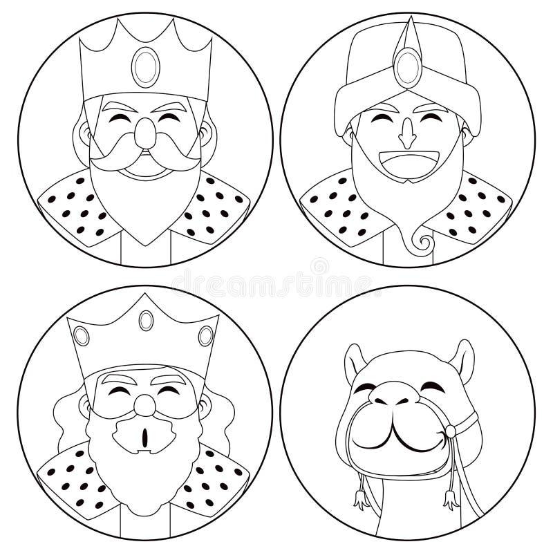 三国王和骆驼着色 皇族释放例证