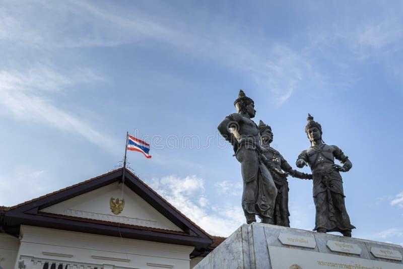 三国王Monument清迈 免版税库存图片