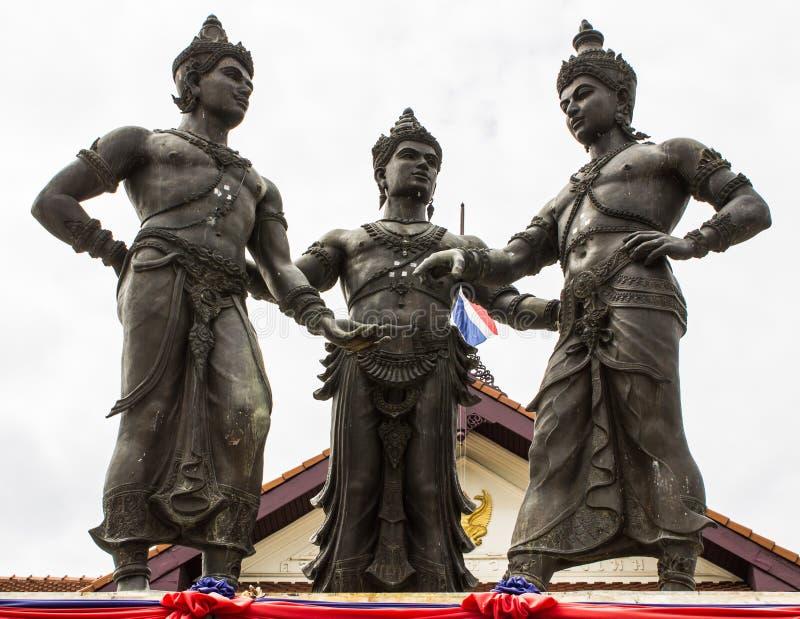 三国王Monument,清迈 库存图片