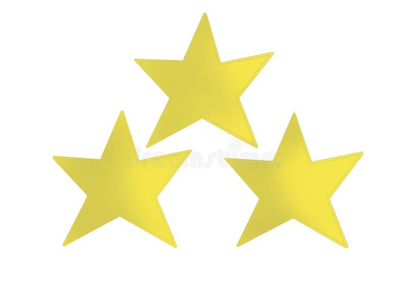 三在金字塔形状的金黄星 向量例证