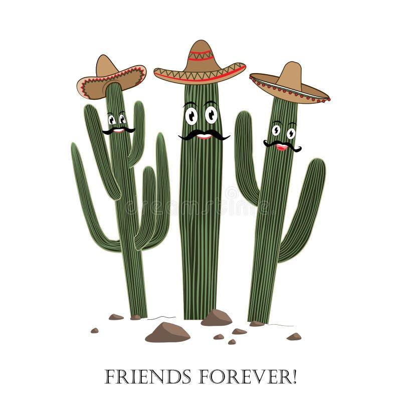 三在阔边帽的逗人喜爱的动画片柱仙人掌仙人掌 朋友永远发短信 库存例证