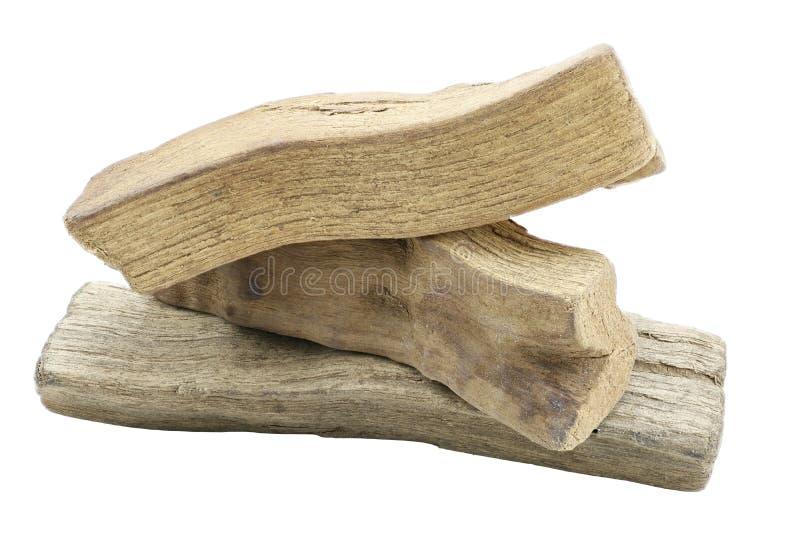 三块小木头特写镜头  免版税库存照片
