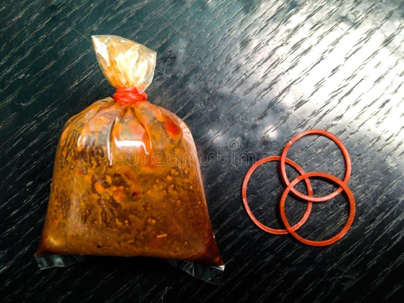 三塑料带,袋子调味汁 图库摄影
