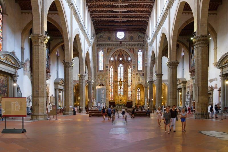 三塔Croce大教堂的内部在佛罗伦萨 图库摄影