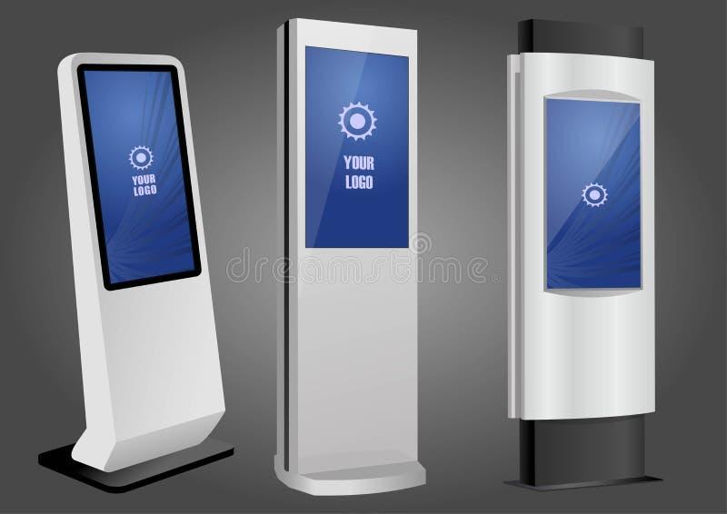 三增进交互式信息问讯处,给显示做广告,终端立场,屏幕显示 r 向量例证
