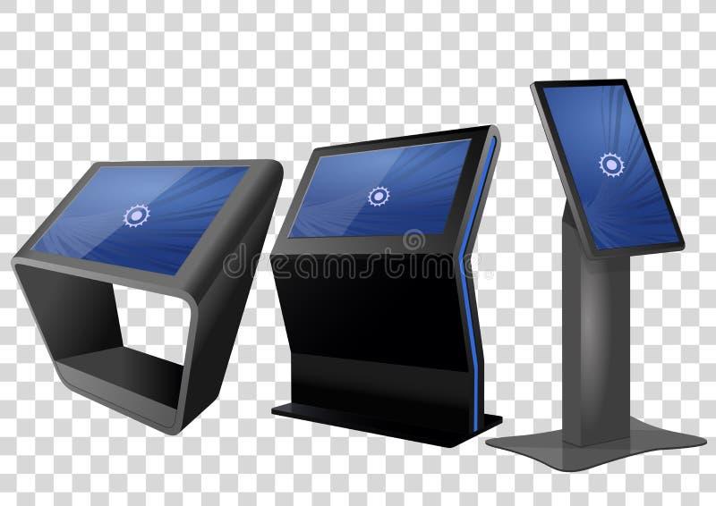 三增进交互式信息问讯处,给显示做广告,终端立场,触摸屏显示 皇族释放例证
