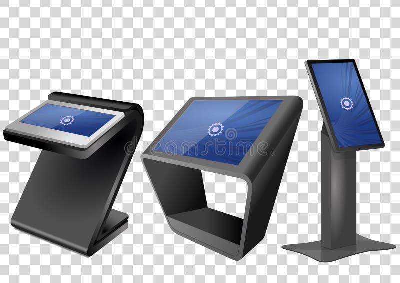 三增进交互式信息问讯处,给显示做广告,终端立场,触摸屏显示 向量例证