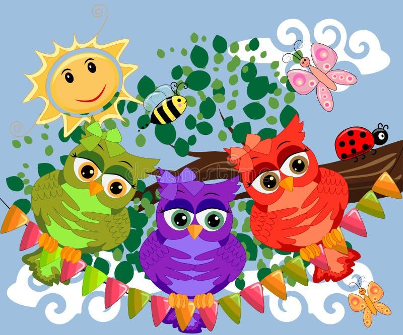 三头逗人喜爱的五颜六色的动画片猫头鹰坐与花的树枝 库存例证