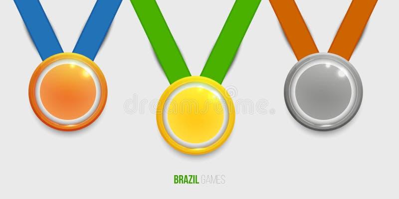 三奖牌、金子、银和古铜与颜色丝带优胜者的 库存例证