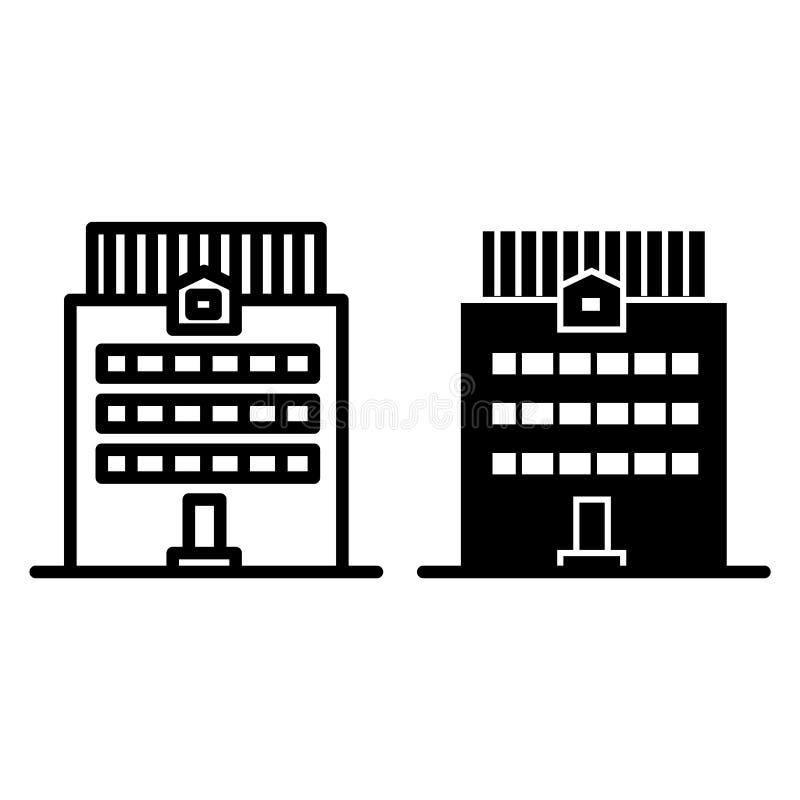 三层建筑限界和纵的沟纹象 办公楼在白色隔绝的传染媒介例证 议院外部概述 库存例证