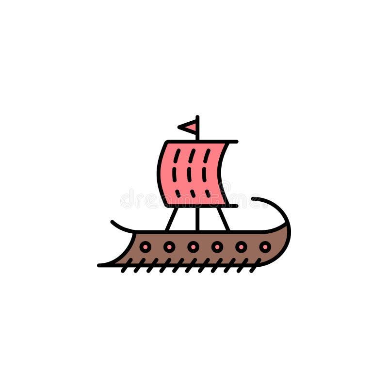 三层桨座之战船象 颜色流动概念和网应用程序的古希腊象的元素 色的三层桨座之战船象可以为网使用和 向量例证