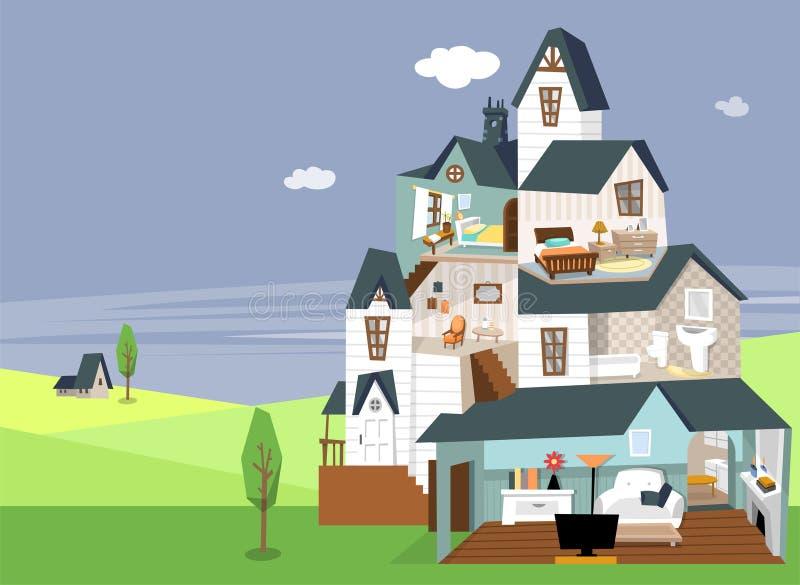 三层的房子切面图和装饰自白天 库存例证