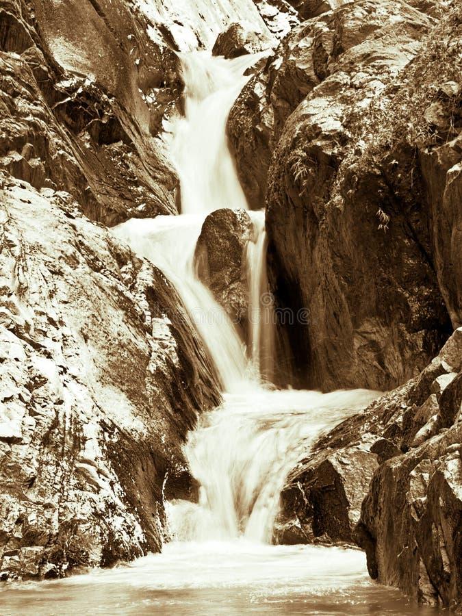 三层的瀑布 库存照片