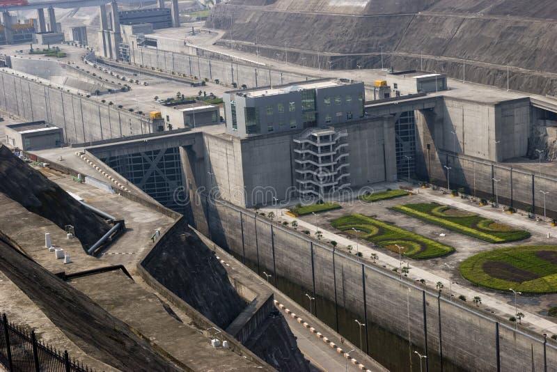 三峡大坝,详细资料通道  库存图片