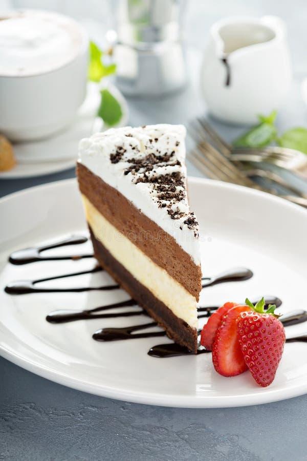 三巧克力层状奶油甜点蛋糕 库存照片