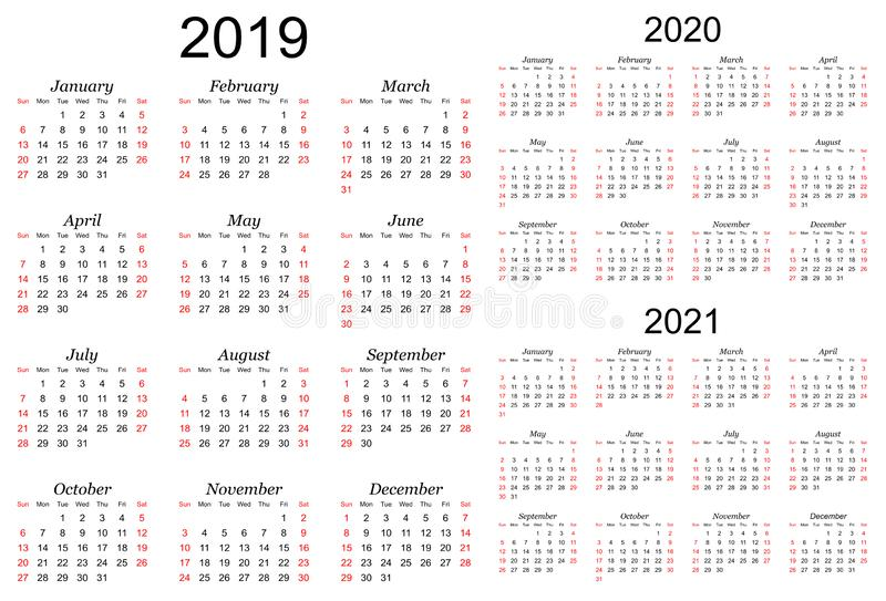 三年的传染媒介日历- 2019年, 2020年和2021年 向量例证