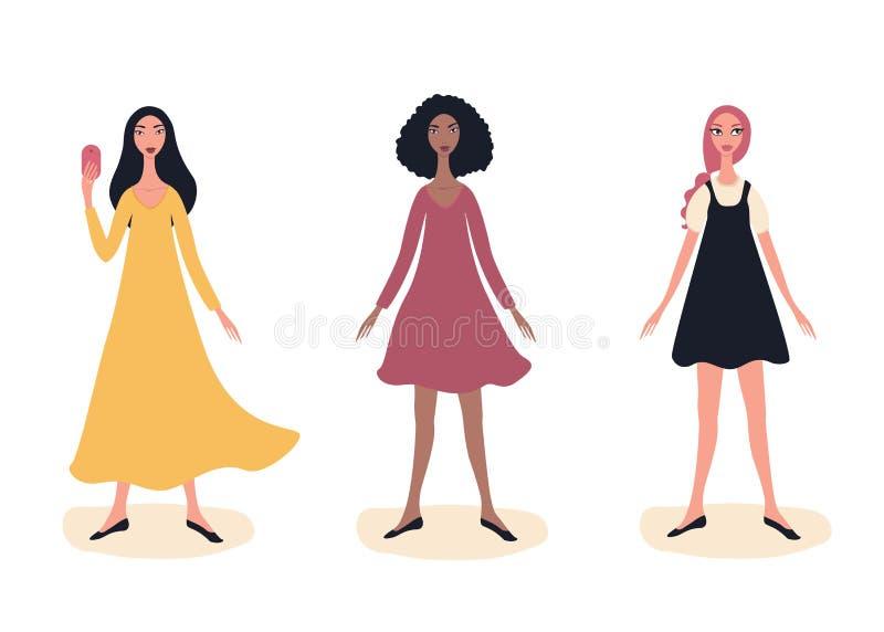 三年轻穿时髦逗人喜爱的衣裳的美女全长时装模特儿妇女画象身分 库存例证