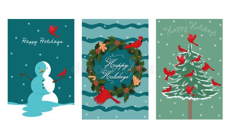 三张新年卡片的一汇集与鸟红色主教的 o 向量例证