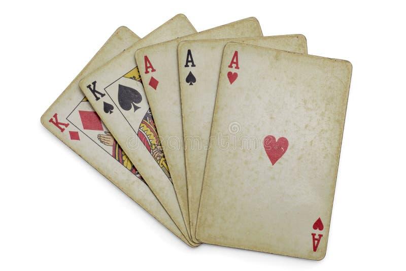 三张相同和二张相同的牌优胜突破国王 免版税图库摄影