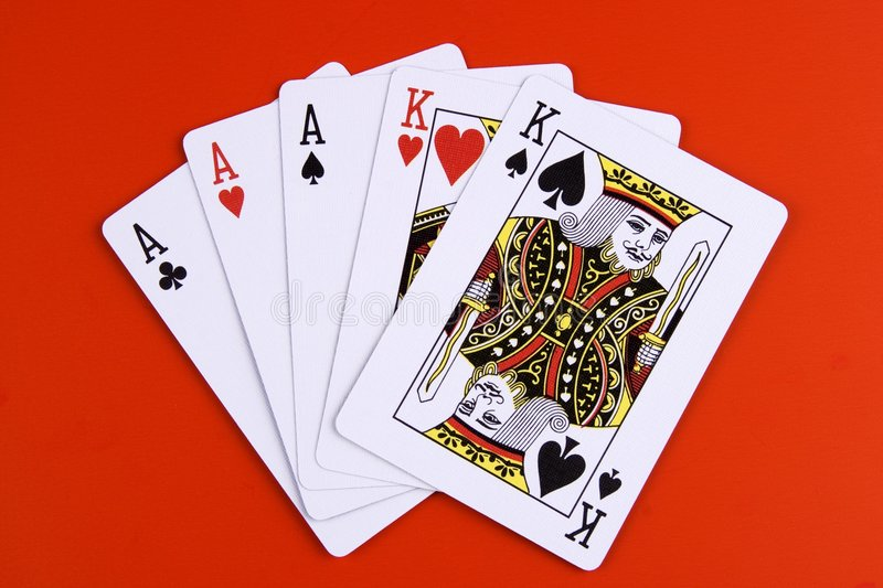 三张相同和二张相同的牌 库存图片