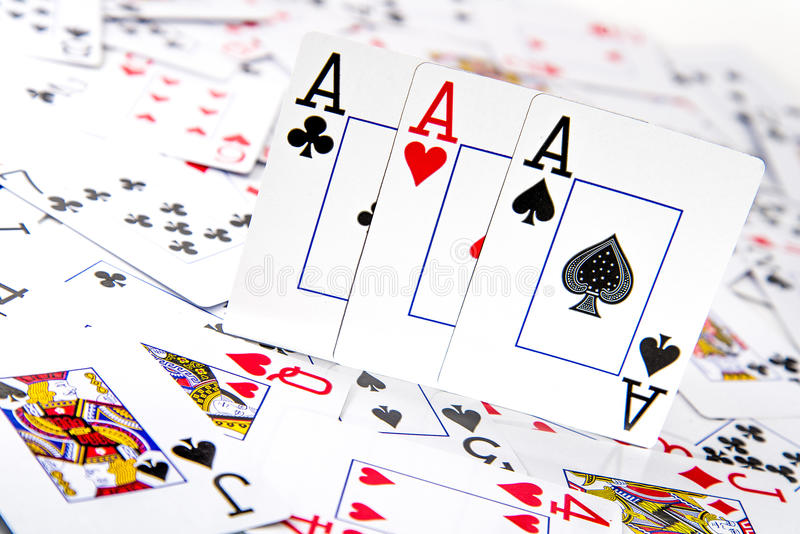 三张相同的牌优胜突破 库存照片