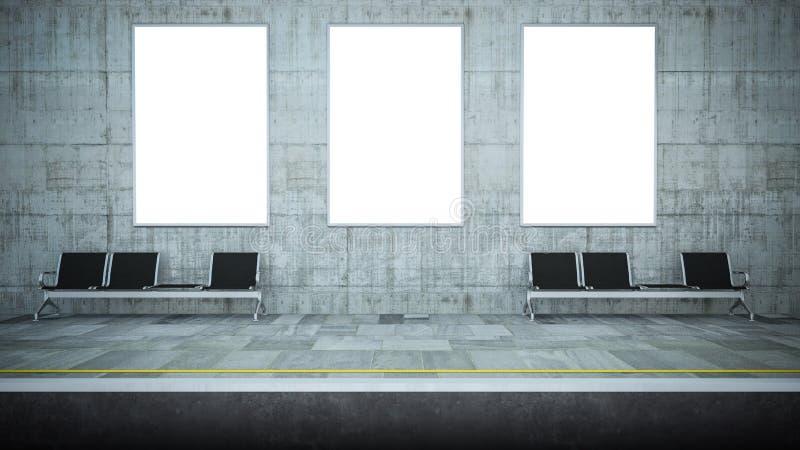 三张空白的海报大模型在地铁站的 库存例证