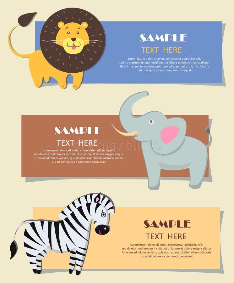 三张非洲野生动物托儿所颜色卡片 库存例证