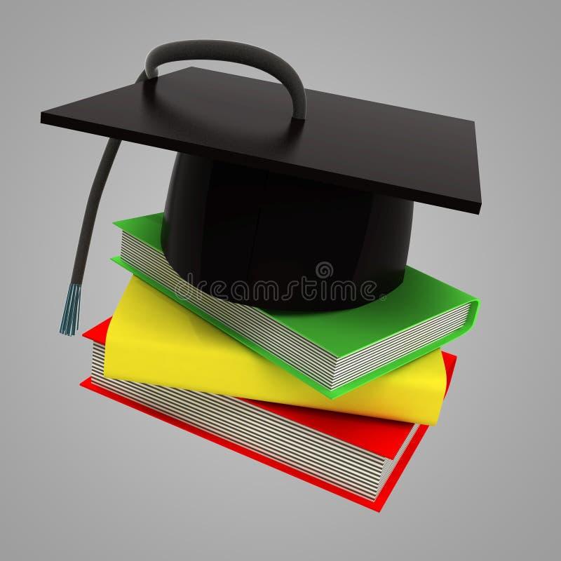 三成功的毕业的教育书 向量例证