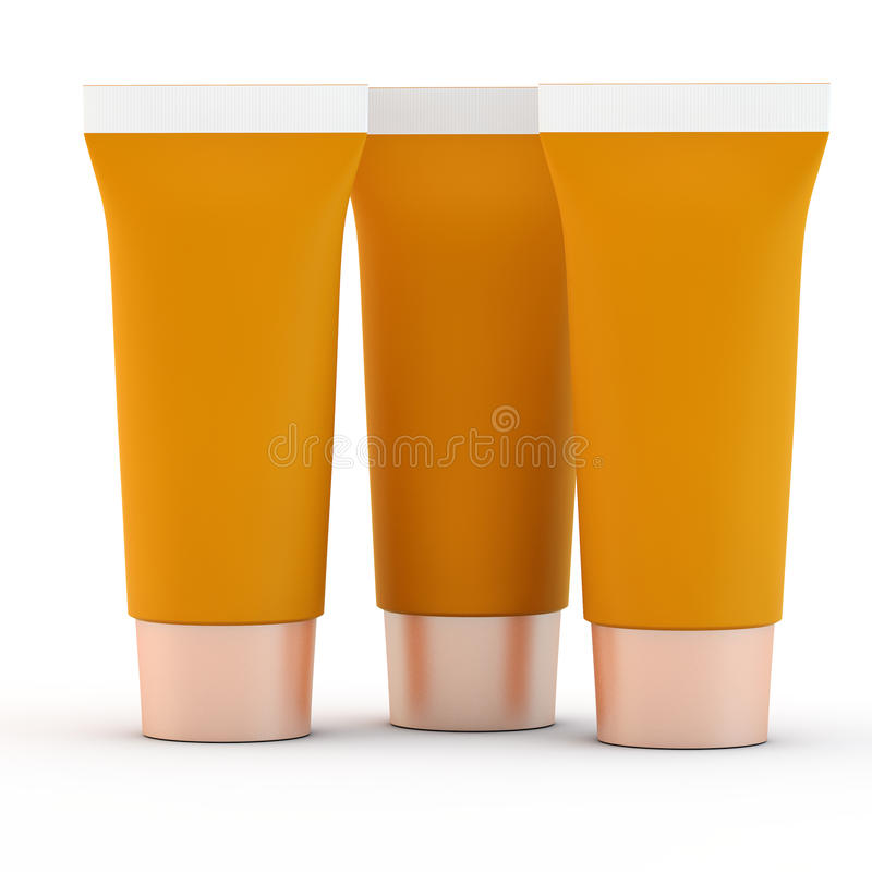 三支橙色管 库存照片