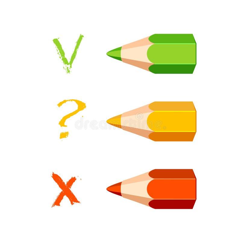 三支色的铅笔 校验标志,问题,发怒标志 向量例证