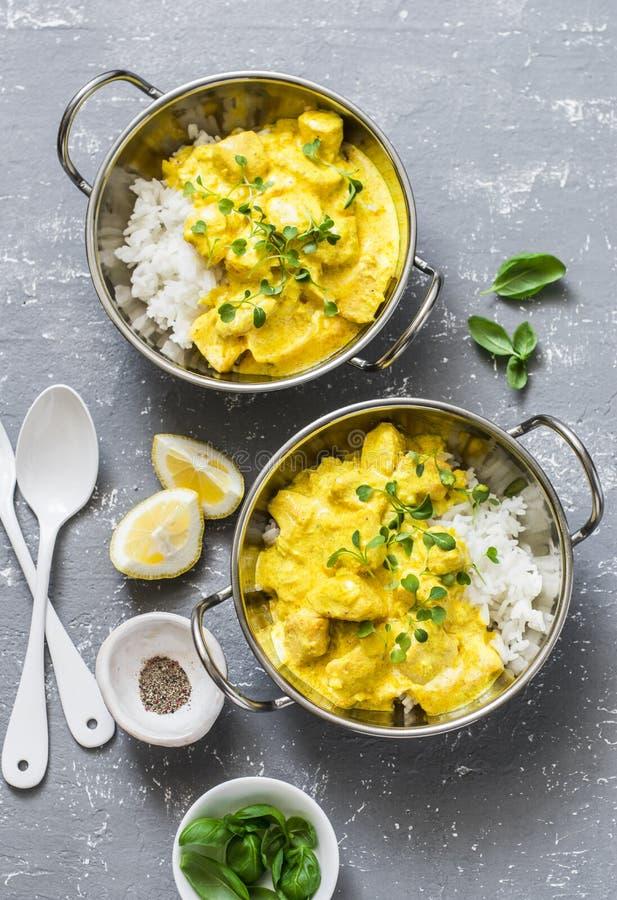 三文鱼咖喱和米在咖喱盘在灰色背景,顶视图 印地安cusine样式 免版税库存照片