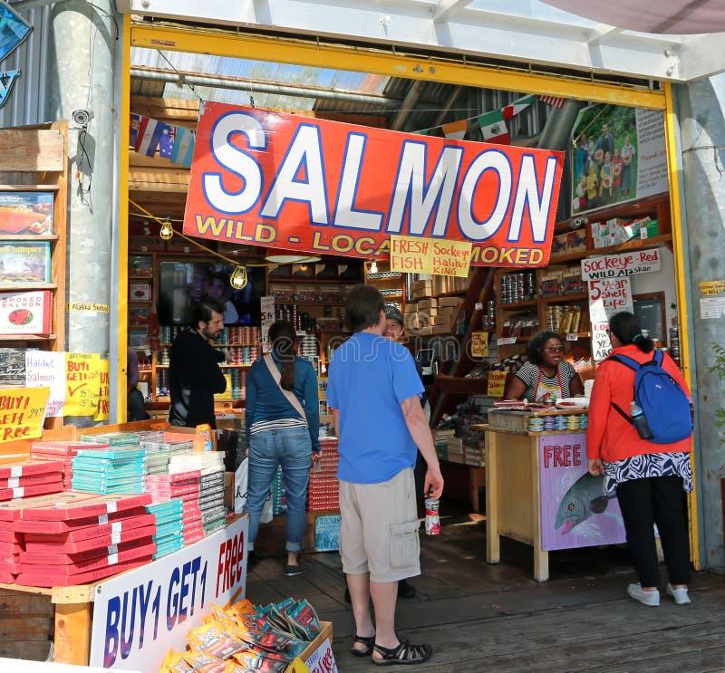 三文鱼市场在Ketchikan 免版税图库摄影