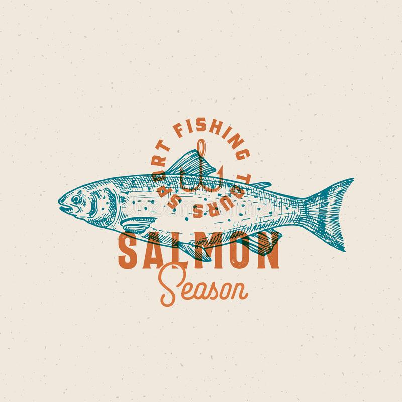 三文鱼捕鱼季节 抽象传染媒介标志、标志或者商标模板 与优等减速火箭的手拉的三文鱼鱼 向量例证
