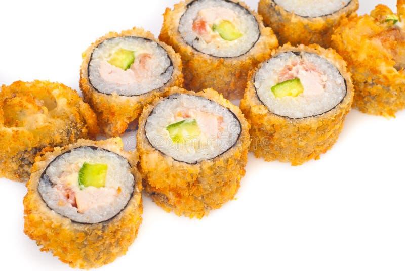 三文鱼油煎的寿司 库存图片