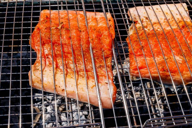 从三文鱼烤的鱼kebabs,特写镜头 免版税图库摄影