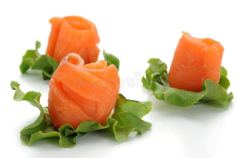 三文鱼熏制的快餐 库存照片