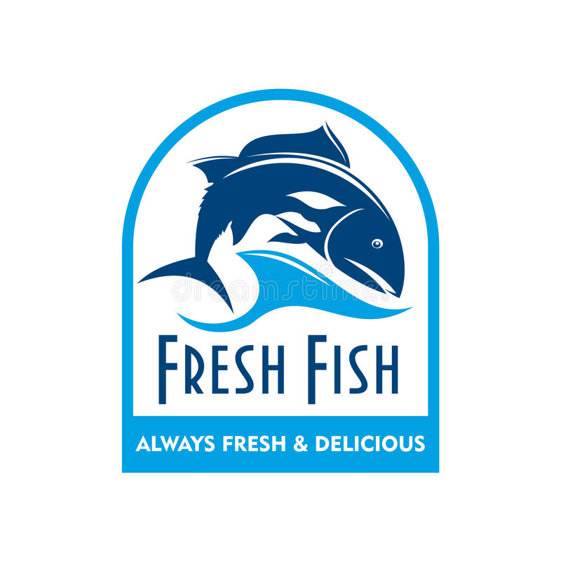 三文鱼蓝色徽章在波浪的与文本鲜鱼 向量例证